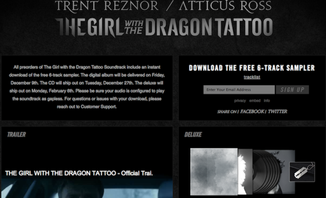 The Girl With The Dragon Tattoo Soundtrack Webpage Screen Shot