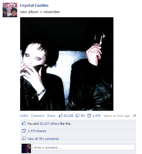 Crystal Castles Facebook New Album
