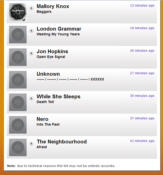 Screenshot of Radio 1 playlist