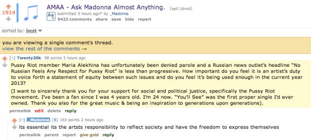 Madonna Reddit AMA 2020k